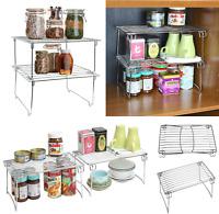 Chrome 2 Tier Kitchen Shelf Rack Foldable Pantry Pans Cupboard Shelf Organiser