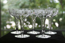 Gorgeous, Cut/Engraved Glass Coupe Champagnes (5)  Rock Sharpe