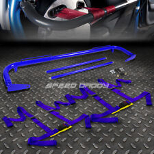 """BLUE 49""""STAINLESS STEEL CHASSIS HARNESS BAR+BLUE 4-PT STRAP BUCKLE SEAT BELT"""