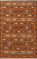 New Geometric Flat-Woven Rust 4x6 Kilim BalouchOriental Area Rug Handmade
