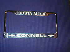 Chevy dealer vintage licence plate metal frame. Connell Costa Mesa California
