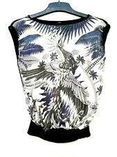 Bird print silk capsleeve top