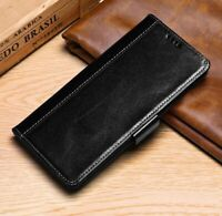 Luxury Genuine Cowhide Leather Wallet Stand Case Cover For Samsung Galaxy Phone