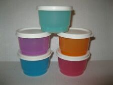Tupperware FIVE 4-oz SNACK CUP Containers MULTI-COLORED w/ OFF WHITE SEALS NEW