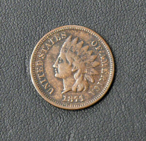 1871 BETTER DATE INDIAN HEAD CENT - MOSTLY INTACT LIBERTY - Higher Grade