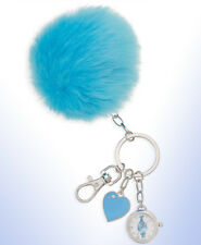 DreamWorks Trolls Women's Faux-Fur Blue POM-POM Key FOB Keychain WATCH