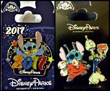 Disney Parks 3 Pin Lot 2017 Stitch + Stitch w/guns & Pleaky - New