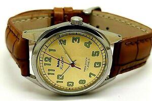 genuine hmt pilot hand winding men parashock steel vintage watch working order