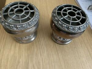 Pair of vintage silver plated Lanthe rose bowls