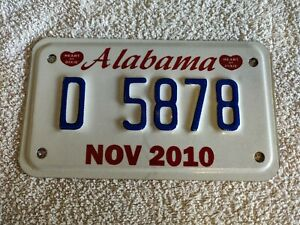 ALABAMA **CLEARANCE £4.99** 09/10 MOTORCYCLE USA Genuine Pre-Owned License Plate