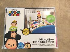 Disney Tsum Tsum Microfiber 3 Pcs Twin Sheet Set Flat Fitted Sheets + Pillowcase