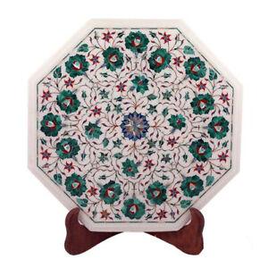 """15"""" Marble side end table top semi precious stones pietradura inlay"""