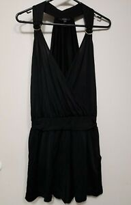 GUESS - Black Stretchy Silky Playsuit - Size US M / UK 8
