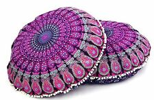 1 Pair Peacock Mandala Round Tapestry Floor Cushions Pillow Cover Indian Pillows