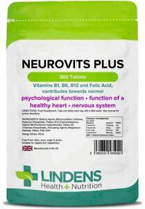 Neurovits Plus 360 Tablets Vitamin B1, B6, B12, Folic Acid Tiredness and Fatigue