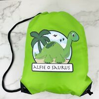 Personalised Green Dinosaur Drawstring Green PE Bag Kids Swimming Gym Kit School
