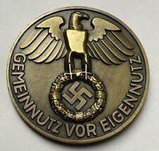 GERMAN REICHSMARK EXONUMIA COIN THIRD REICH WW2 HITLER BRONZ