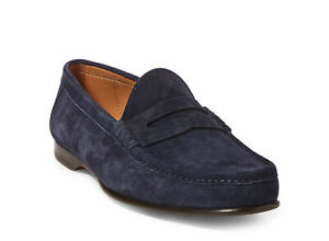 Ralph Lauren Purple Label Navy Chalmers Suede Penny Loafers New $895