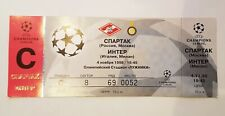 Unused Ticket Champions League 1998 Spartak Moscow vs Inter Milan