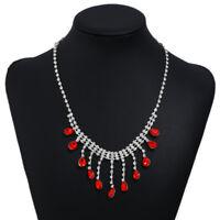 Women Boho Silver Crystal Bridal Bridesmaid Necklace Diamante Wedding Jewellery