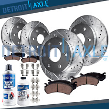 Front & Rear DRILLED Brake Rotors + Ceramic Pads for 2010 2011-2016 Cadillac SRX