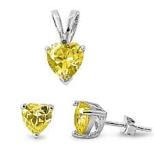 Yellow Topaz Heart .925 Sterling Silver Earring & Pendant Set