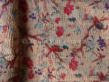 Indian Floral Kantha Quilt Queen Ethnic Reversible Cotton Bedspread Throw Decor