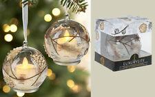 GANZ Set/2 Pine Cone LUXURYLITE LED Glass Ornaments w/flickering flame