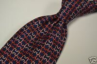 Hermes Blue Red H Puzzle Link 100% Silk Tie France 7986EA EUC