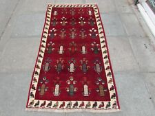 Old Traditional Hand Made Persian Oriental Gabbeh Wool Red Rug Runner 185x95cm