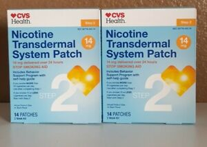 2 Pack Nicotine Transdermal System Patches, 14mg, 14 patch Ea, Step 2 Exp 06/21