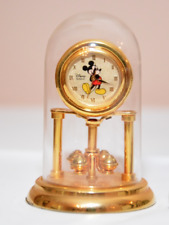New listing Disney Mickey Mouse Quartz Clock- Time Works -Glass Dome Gold Tone Brass