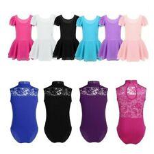 Girl Ballet Gymnastics Leotard Dress Kids Dance Lace Back Strechy Jumpsuit Skirt