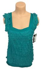 NEW J.T.B. women's size medium, ruffled lagoon green top blouse