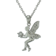 Tinkerbell Cubic Zirconia Dainty Cute Tinker Bell Fairy Pendant Necklace Jewelry
