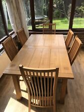 solid oak dining table and chairs Large (extending)