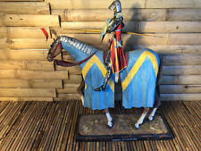 Wood ,Paper,Metal Hand Painted And Created Knight On A Horse  Sculpture.