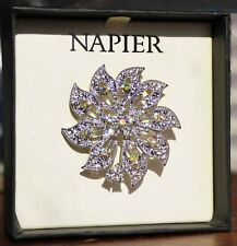 Pin ~ New In Gift Box ~ Gorgeous Napier ~ Crystal Rhinestone ~ Flower ~ Brooch