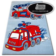 Moderne et Pas Cher Tapis pour Enfants Happy Bleu Pompier - 6 Tailles