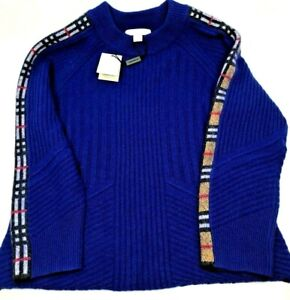Burberry Kids NEW Blue Cashmere & Wool Check Detail  Sweater Size 10 yrs