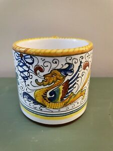 "Deruta Pottery Large Mug Raffaellesco-Hand painted Italy 4"" Tall 4"" Wide"