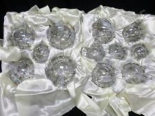 Frontgate Christmas Holiday Set 12 Clear SILVER Scroll Glass Ornaments
