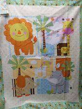 Safari Friends Animal baby Quilt 1 Top Panel Fabric orange green cotton giraffe