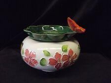 "Handpainted African Violet Pot ""Orange Flowers and Butterflies"""