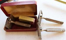 3 Vintage Ever-Ready Safety Shaving Razor w/ Case & Valet Blades USA Streamline