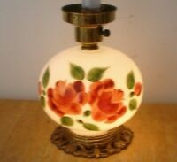 Vintage Hand Painted Red Roses White Milk Glass GWTW Table Lamp No Shade Beauty!