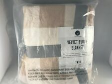 Great Bay Home Velvet Plush Blanket Super Soft Plaid Buffalo Check - Taupe