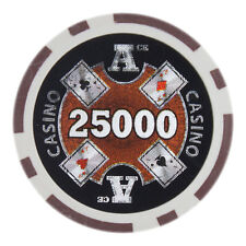 "25 ct Brown $25000 Twenty-Five Thousand Dollars 25k ""Ace Casino"" Poker Chips 14g"