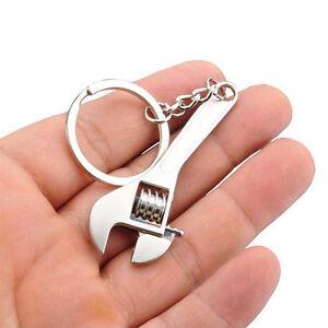1x Originality Silver Metal Simulation Mini adjustable Wrench Key Ring Key Chain