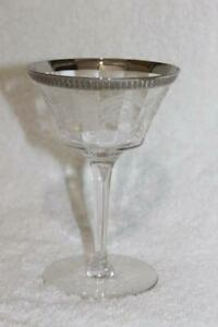 """VINTAGE TIFFIN ETCHED WINE CLEAR GLASS WITH SILVER RIM 5.5"""" X 3.75"""""""